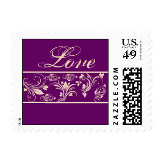 Plum and Champagne Floral Scroll Postage