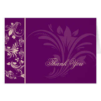 Plum and Champagne Floral Scroll Thank You Greeting Cards