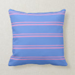 [ Thumbnail: Plum and Cornflower Blue Stripes Pattern Pillow ]