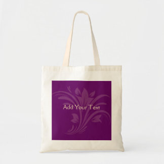 Plum and Cream Floral Scroll Tote Bag