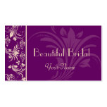 Plum and Cream Floral Scroll Business Card