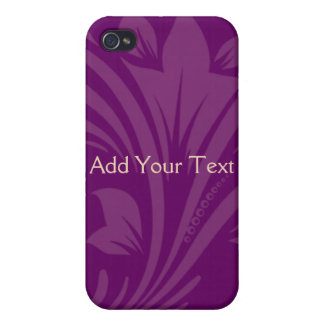 Plum and Cream Floral Scroll Case For iPhone 4