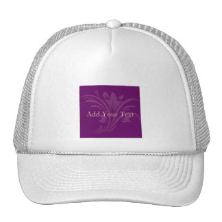 Plum and Cream Floral Scroll Trucker Hat