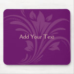 Plum and Cream Floral Scroll Mouse Pads