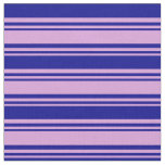 [ Thumbnail: Plum and Dark Blue Lines Fabric ]
