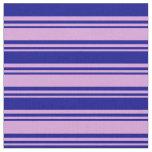 [ Thumbnail: Plum and Dark Blue Lines Fabric ]