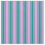 [ Thumbnail: Plum and Dark Cyan Stripes Fabric ]