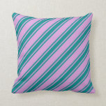 [ Thumbnail: Plum and Dark Cyan Stripes Throw Pillow ]