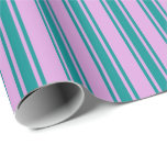 [ Thumbnail: Plum and Dark Cyan Stripes Wrapping Paper ]