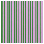 [ Thumbnail: Plum and Dark Green Colored Lines Pattern Fabric ]
