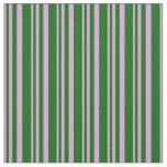 [ Thumbnail: Plum and Dark Green Colored Lines/Stripes Pattern Fabric ]