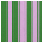 [ Thumbnail: Plum and Dark Green Colored Striped Pattern Fabric ]