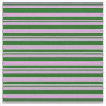[ Thumbnail: Plum and Dark Green Pattern of Stripes Fabric ]