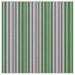 [ Thumbnail: Plum and Dark Green Stripes Pattern Fabric ]