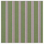 [ Thumbnail: Plum and Dark Olive Green Colored Lines Fabric ]