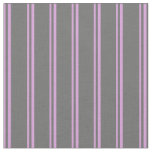 [ Thumbnail: Plum and Dim Grey Colored Stripes Pattern Fabric ]
