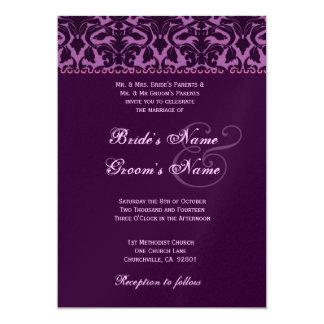 Plum and Eggplant Purple Damask Wedding Card