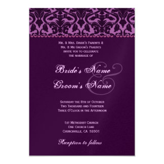 Plum and Eggplant Purple Damask Wedding 5x7 Paper Invitation Card