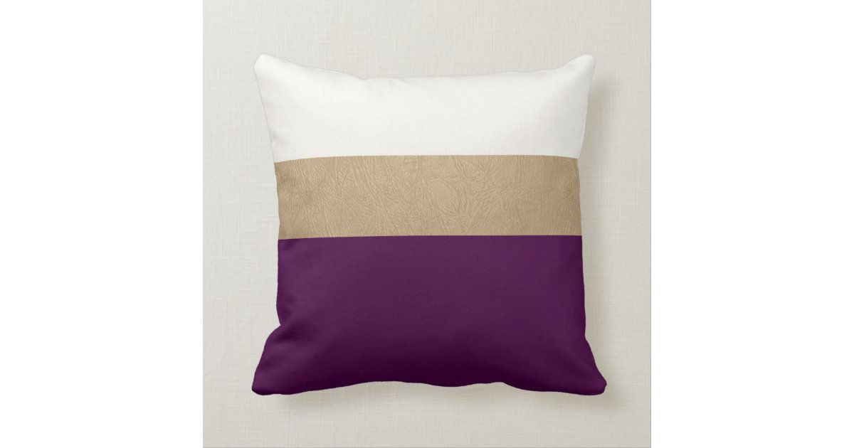 Throw Pillows Printing : plum and faux gold leather throw pillow Zazzle