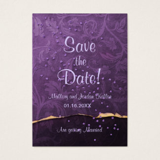 Plum and Gold Damask Save the Date Business Card