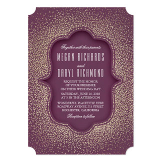 Plum and Gold Glitter Vintage Wedding Card