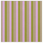 [ Thumbnail: Plum and Green Colored Stripes Fabric ]