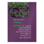 Plum and Green Masquerade Party Invitation