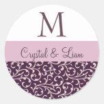 PLUM and LILAC PINK Damask Wedding Monogram Classic Round Sticker
