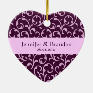 Plum and Lilac Swirl Damask Wedding Ornament