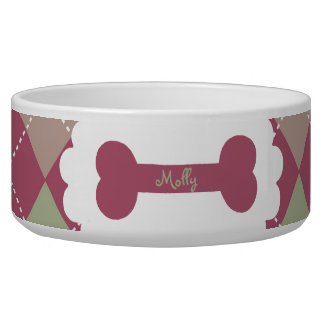 Plum and Moss Argyle Personalized Bowl