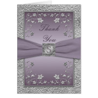 Plum and Pewter Floral Monogram Thank You Card