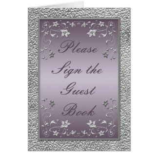 Plum and Pewter Floral Table Card