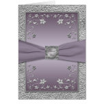 Plum and Pewter Floral Thank You Card Cards