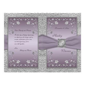 Plum and Pewter Floral Wedding Program Custom Flyer