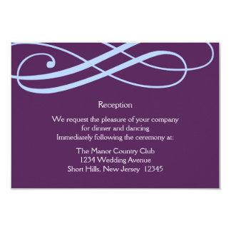Plum and Powder Blue Swirls Reception Card