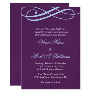 Plum and Powder Blue Swirls Wedding Invitations