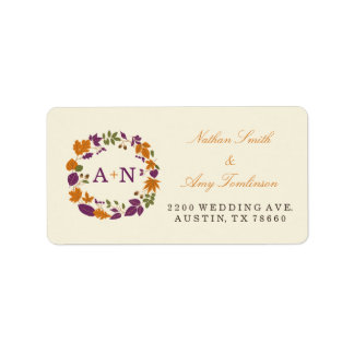 Plum and Pumpkin Fall Wreath Address Labels