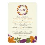 Plum and Pumpkin Fall Wreath Wedding Invitations