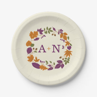 Plum and Pumpkin Fall Wreath Wedding Plates