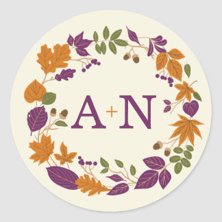 Plum and Pumpkin Fall Wreath Wedding Stickers