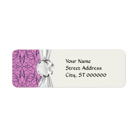 plum and purple intricate swirl damask label