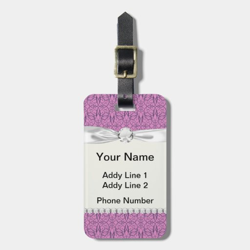 plum and purple intricate swirl damask tag for luggage