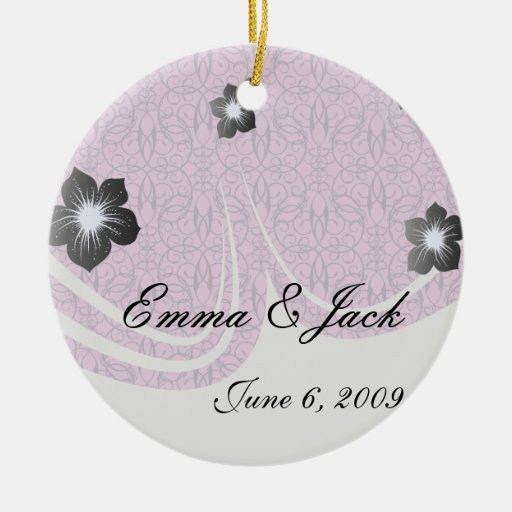 plum and purple intricate swirl damask Double-Sided ceramic round christmas ornament