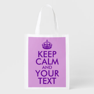 Plum and Purple Keep Calm and Your Text Grocery Bags