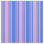 [ Thumbnail: Plum and Royal Blue Colored Stripes/Lines Pattern Fabric ]