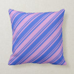 [ Thumbnail: Plum and Royal Blue Colored Stripes/Lines Pattern Throw Pillow ]