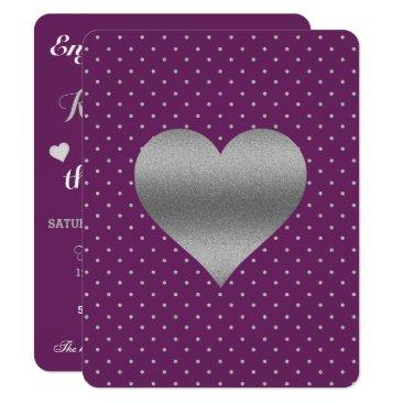 McTiffany Tiffany Aqua Plum And Silver Heart & Polka Dot Party Invitation