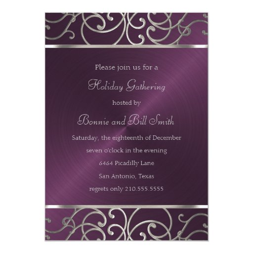 Plum And Silver Wedding Invitations: Plum And Silver Holiday Party Invitation