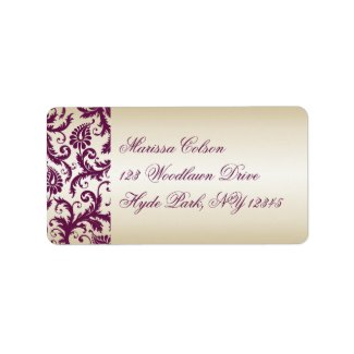 plum and Taupe Damask Address Label label