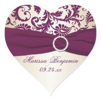 plum and Taupe Damask Heart Shape Sticker sticker